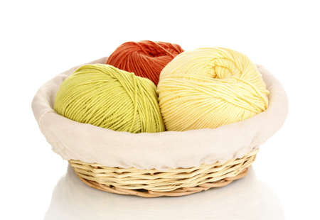basket embroidery: Knitting yarn in basket isolated on white