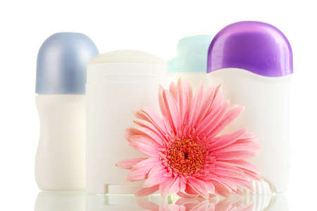 deodorant and flower isolated on white photo