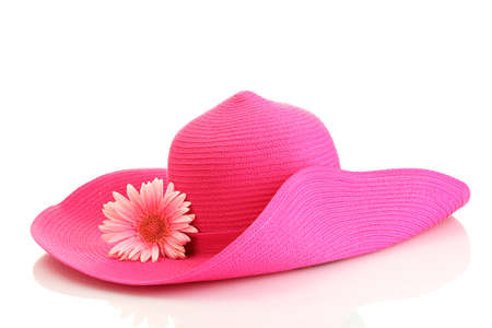Beautiful summer woman hat with flower isolated on white background photo