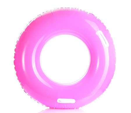 pink life ring isolated on white photo