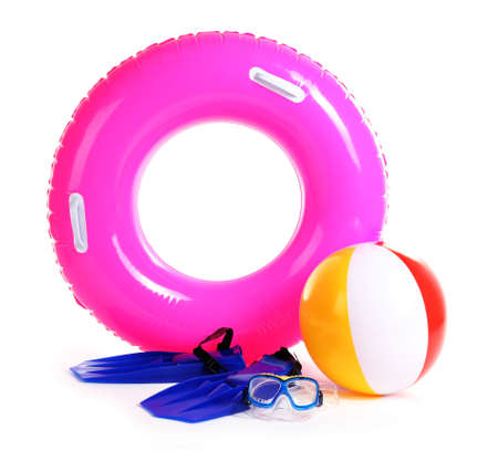 life ring, inflatable ball, flippers and mask isolated on white photo