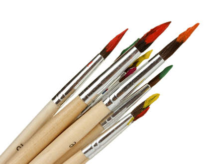 gouache: Paint brushes with gouache isolated on white Stock Photo