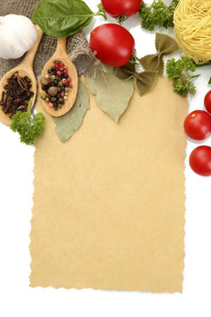 paper for recipes,vegetables and spices, isolated on white photo