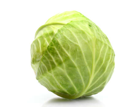 the cabbage: whole green cabbage isolated on white