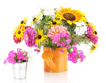mixed flower bouquet: Beautiful bouquet of bright flowers in bailer isolated on white