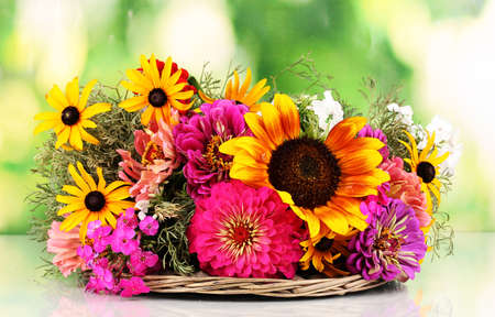 ronantic: Beautiful bouquet of bright flowers on nature background Stock Photo