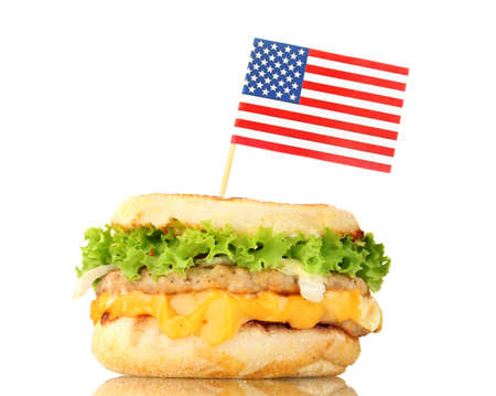 tasty sandwich with american flag, isolated on white photo