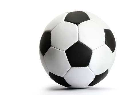 soccer kick: football ball, isolated on white Stock Photo