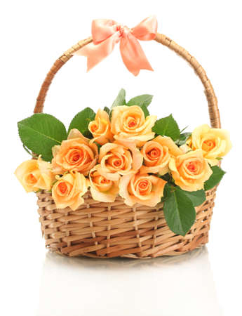 beautiful bouquet of roses in basket isolated on white Stock Photo