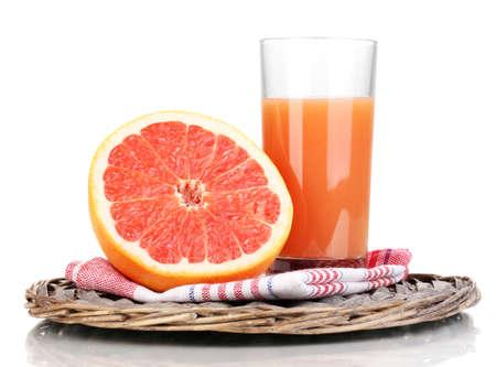 Grapefruit juice and grapefruit isolated on white photo