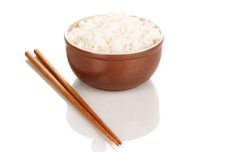 bowl with rice: Bowl of rice and chopsticks isoalted on white