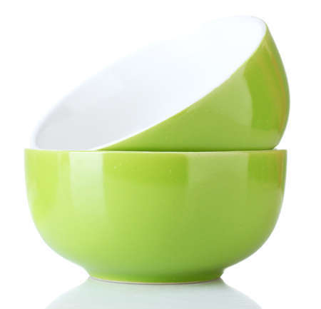 bright green empty bowls isolated on white photo