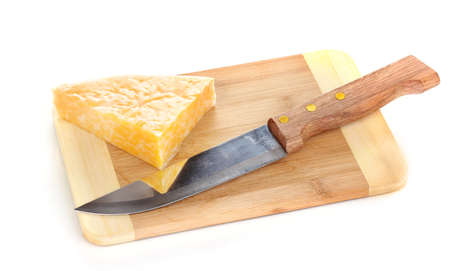 Cheese on cutting board with knife isolated on white Stock Photo - 14729115