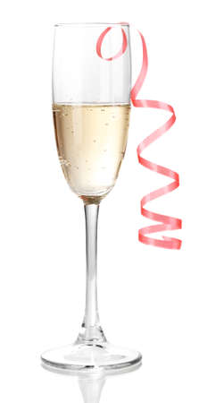 christmas bubbles: Glass of champagne isolated on white
