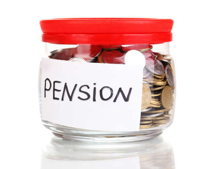 pension fund: Glass bank for tips with money isolated on white