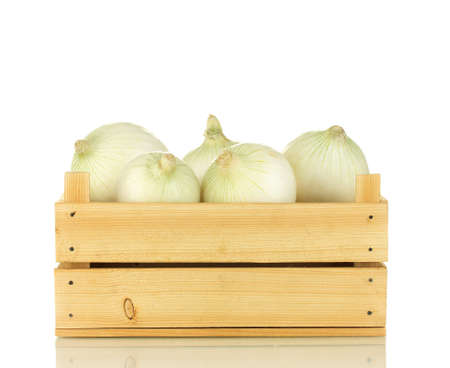 wooden box: white onion in wooden box isolated on white background