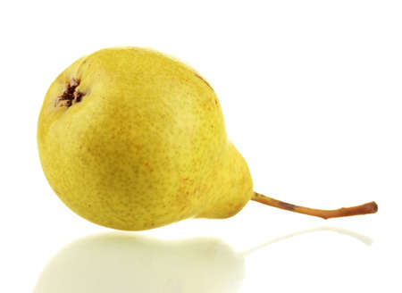 Juicy flavorful pear isolated on white photo