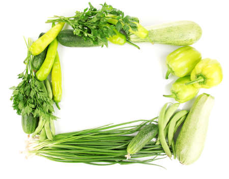 fresh green vegetables isolated on white Stock Photo - 14759531