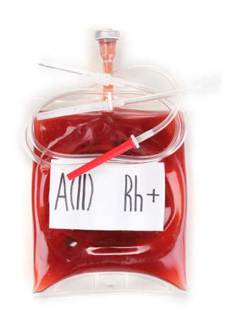 Bag of blood and infusion isolated on white photo