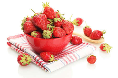 sweet ripe strawberries in bowl isolated on white photo