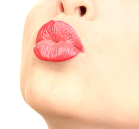 nose close up: beautiful make up of glamour red gloss lips Stock Photo