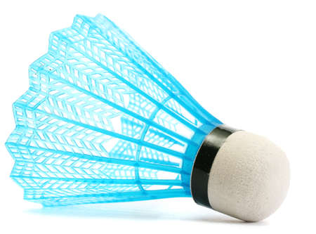 blue plastic shuttlecock isolated on white photo