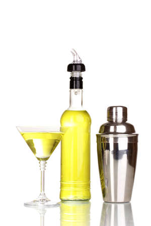 Tasty yellow cocktail isolated on white photo