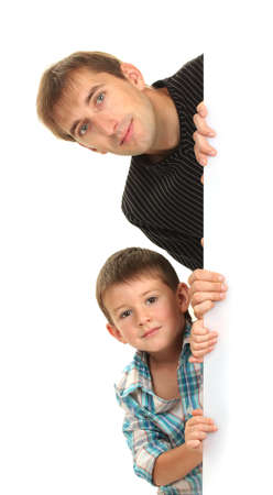 portrait of dad and son isolated on white photo