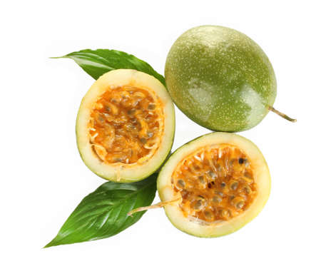 green passion fruit isolated on white background close-up photo