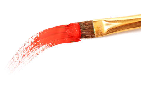 messy paint: Abstract gouache paint and brush, isolated on white