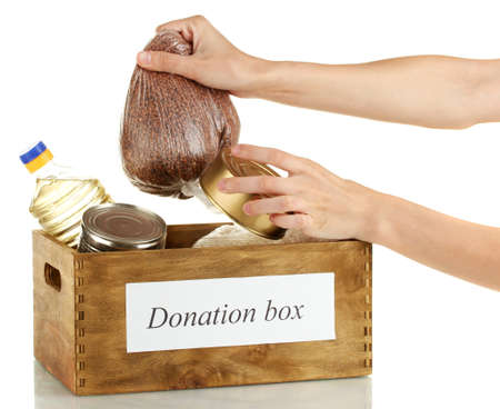 Donation box with food on white background close-up Stock Photo - 14775368