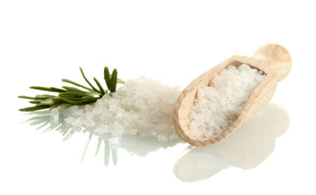 salt with fresh rosemary isolated on white photo