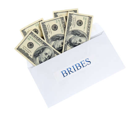 bribes: The envelope with the money bills isolated on white. Bribes.