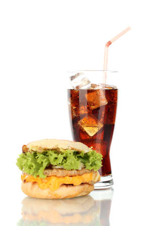 tasty sandwich and glass with cola, isolated on white photo
