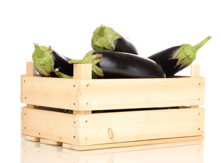 Fresh eggplants in crate isolated on white photo