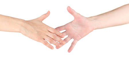 Women's hand goes to the man's hand on white background photo
