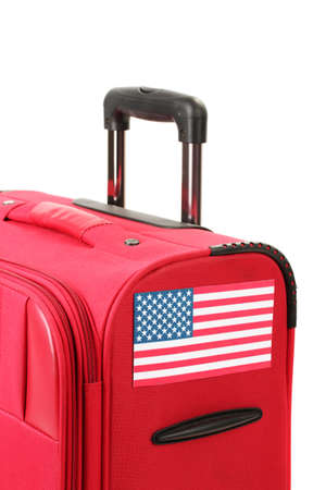 red suitcase with sticker with flag of USA isolated on white Stock Photo - 14822799