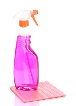 celulosa: Esponjas de celulosa y spray aislados en blanco