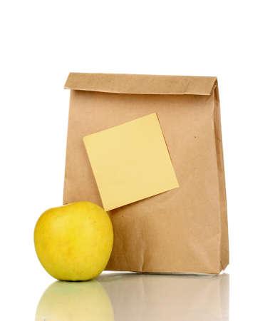 paper packing: El almuerzo escolar aislado en blanco Foto de archivo