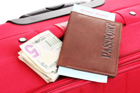 Passport and ticket on suitecase close-up Stock Photo - 14829838