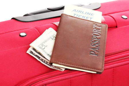 Passport and ticket on suitecase close-up Stock Photo - 14829888