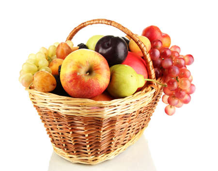Still life of fruit in basket isolated on white Stock Photo - 15196681