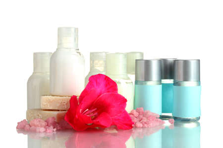 cosmetic bottles, soap and flower, isolated on white Stock Photo - 15196459