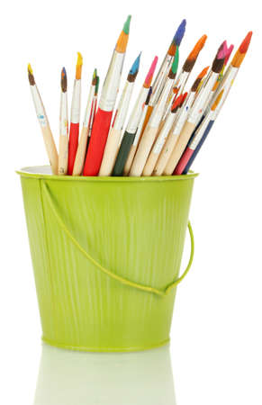 Paint brushes with gouache in bucket isolated on white Stock Photo - 15197640