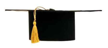 alumna: Grad hat in hand isolated on white Stock Photo