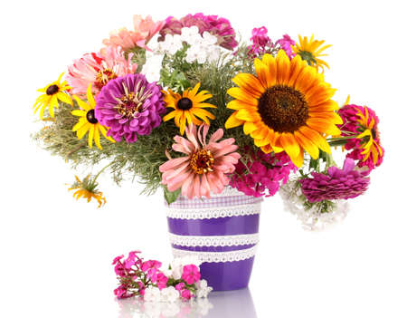 flower vase: Beautiful bouquet of bright flowers isolated on white Stock Photo