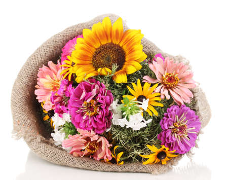 ronantic: Beautiful bouquet of bright flowers in sacking isolated on white