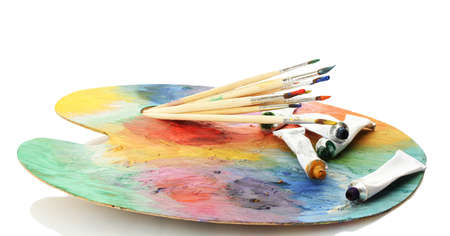 acrylic paint, paint tubes and brushes on wooden palette, isolated on white Stock Photo - 15198070