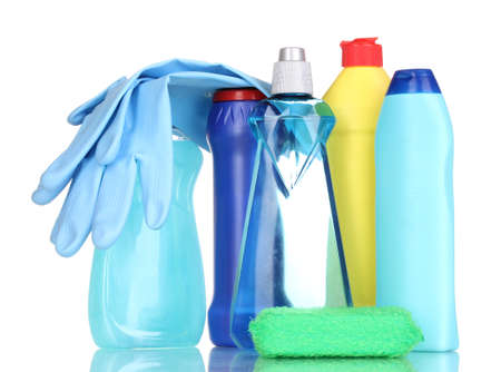 Cleaning items isolated on white Stock Photo - 14877285