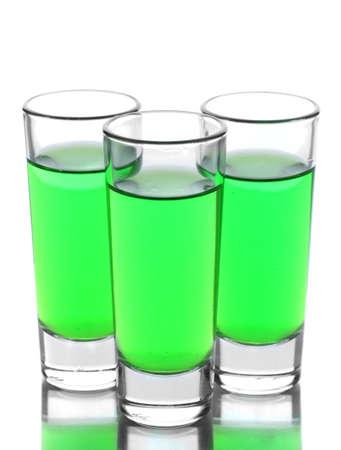 Trois verres d'absinthe isolé sur blanc Banque d'images - 14877262